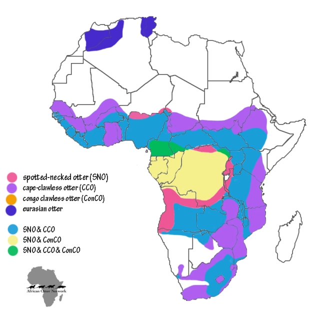 combined otter africa distribution map